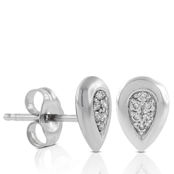 Diamond Cluster Stud Earrings 14K