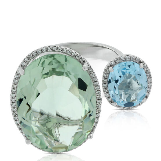 Double Oval Green Quartz, Topaz & Diamond Ring 14K