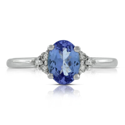 Oval Tanzanite & Diamond Ring 14K