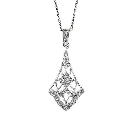 Filigree Diamond Drop Pendant 14K