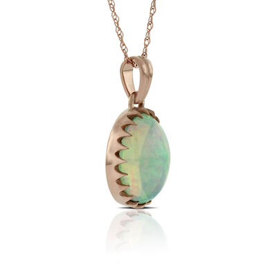 Rose Gold Opal Pendant 14K