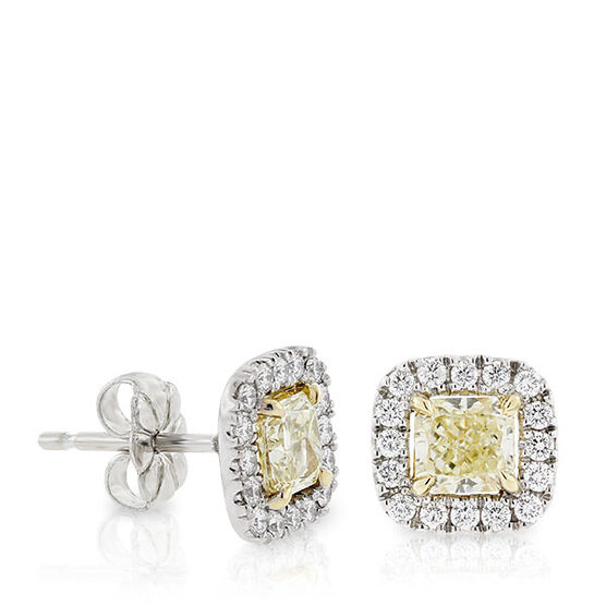 Radiant Cut Yellow Diamond Halo Earrings, 18K