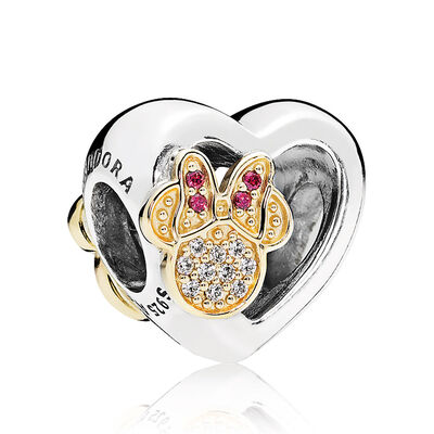 PANDORA Disney, Mickey & Minnie Love Icons CZ Charm, Silver & 14K
