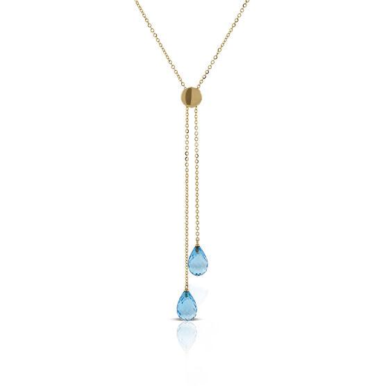 Blue Topaz Bolo Necklace 14K