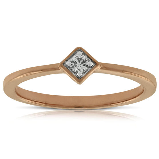 Rose Gold Diamond Promise Ring 14K