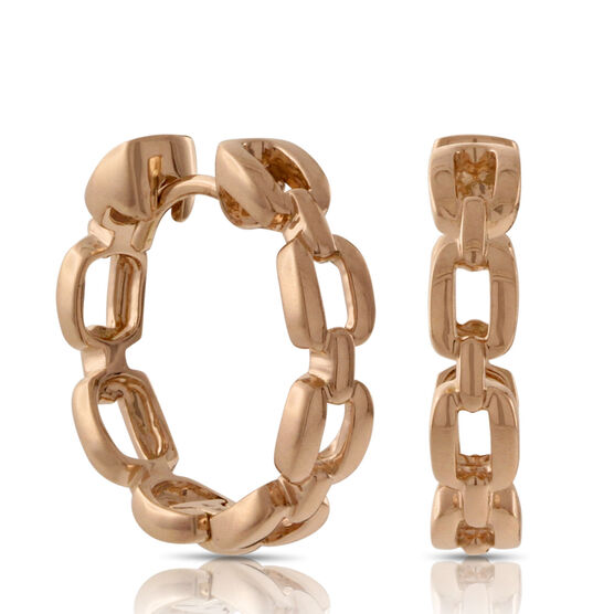 Rose Gold Link Hoop Earrings 14K