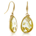 Lisa Bridge Golden Rutilated Quartz Earrings 14K