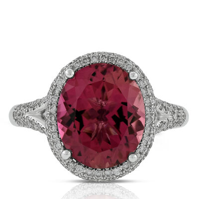 Pink Tourmaline & Diamond Ring 14K