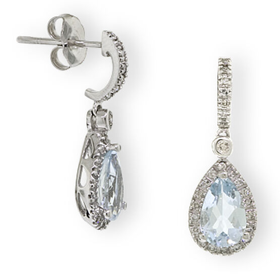 Aquamarine & Diamond Earrings 14K