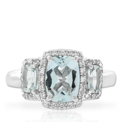 Three Stone Aquamarine & Diamond Ring 14K