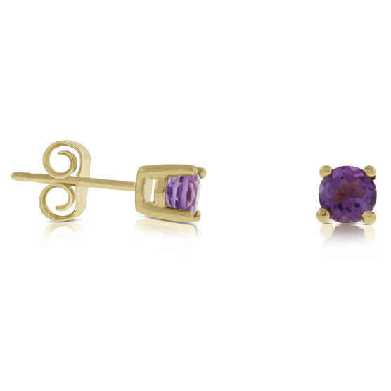 Amethyst Stud Earrings 14K