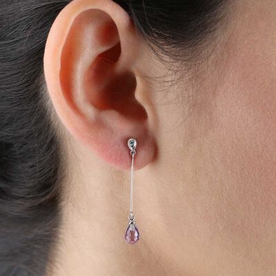Amethyst & Diamond Drop Earrings 14K