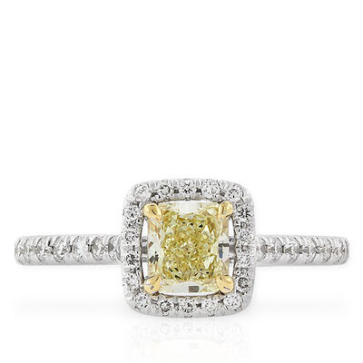 Radiant Cut Yellow Diamond Halo Ring .59 Ct. Center
