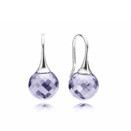PANDORA Morning Dew Lavender CZ Earrings RETIRED