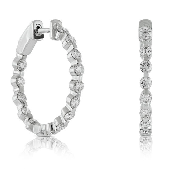 Diamond Hoop Earrings 14K, 2 ctw.