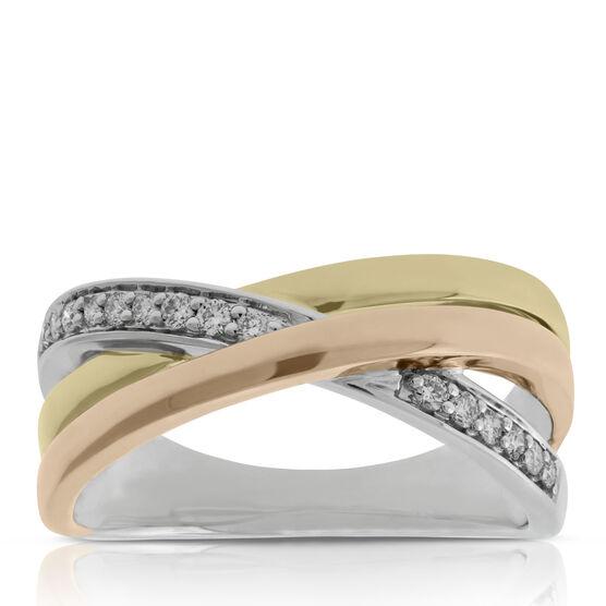 Tri-Color Crossover Diamond Band 14K