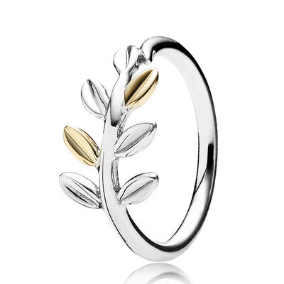 PANDORA LAUREL LEAVES RING, SILVER & 14K