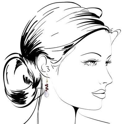Amethyst Briolette & Garnet Drop Earrings 14K