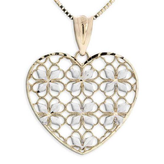 Diamond Cut Heart Pendant 14K
