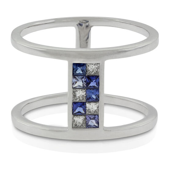 Sapphire & Diamond Double Bar Mosaic Ring 14K