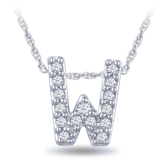 Diamond Initial Pendant 14K Letter 'W'