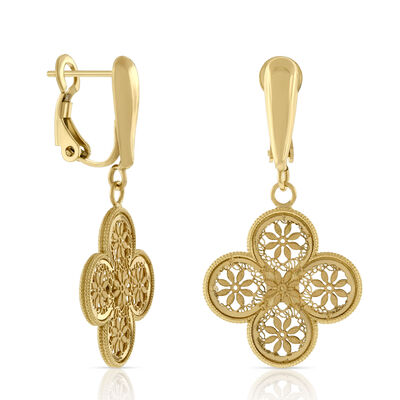Toscano Collection Clover Drop Earrings 18K