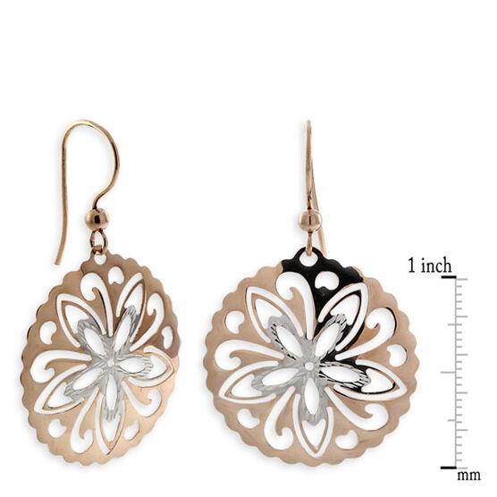 Cut Out Medallion Dangle Earrings 14K