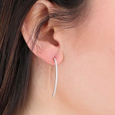 Rose Gold Threader Hoop Diamond Earrings 14K