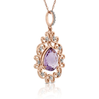 Rose Gold Amethyst & Diamond Pendant 14K