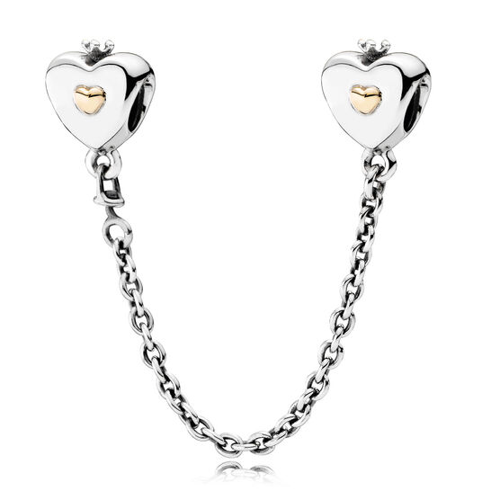 PANDORA Hearts & Crown Safety Chain, Silver & 14K