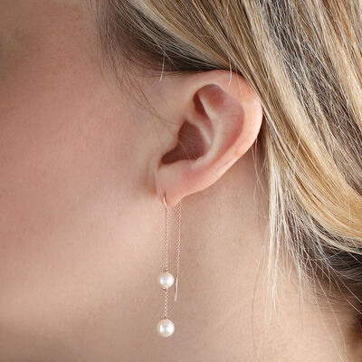 Rose Gold Freshwater Cultured Pearl Threader Earrings 14K