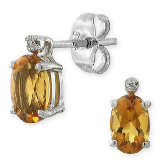 Citrine & Diamond Earrings 14K