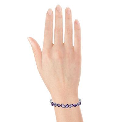 Amethyst Bangle & Chain Bracelet 14K