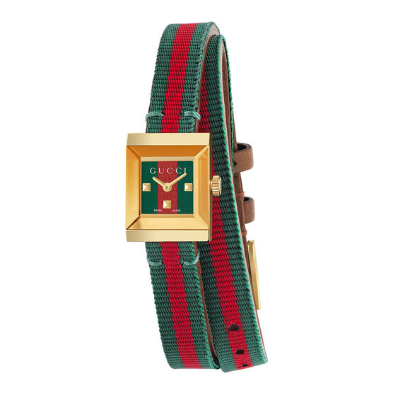 Gucci G-Frame Square Green-Red Wrap Watch