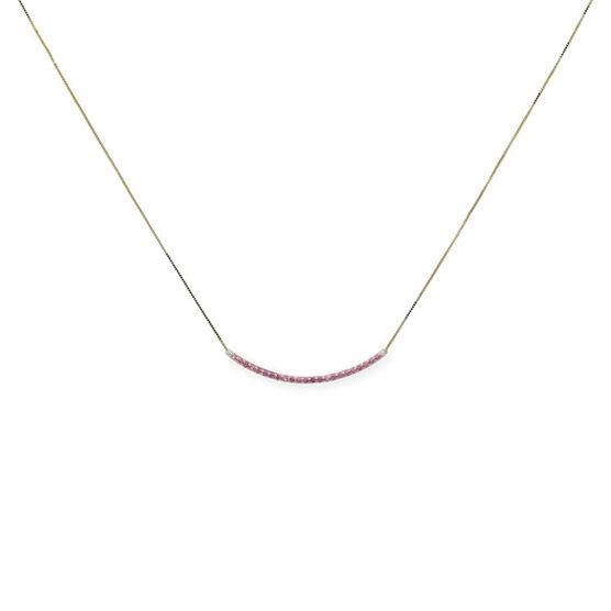 Pink Sapphire & Diamond Bar Necklace 14K