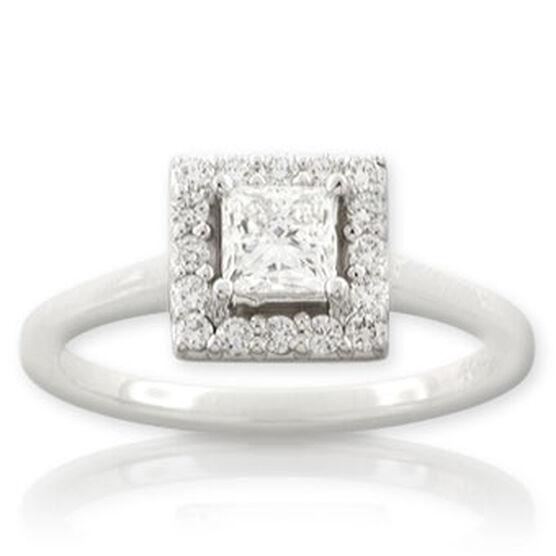 Forevermark Princess Cut Diamond Ring 14K, .52 ct. center