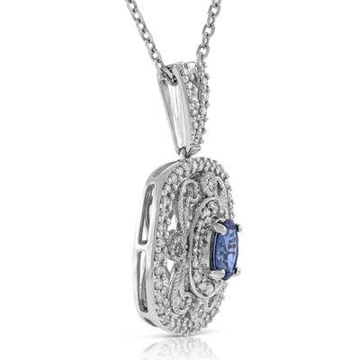 Oval Sapphire & Diamond Filigree Pendant 14K