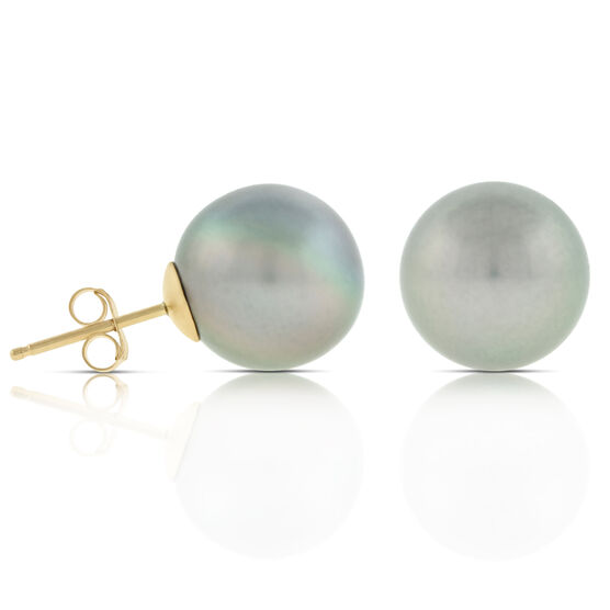 Tahitian South Sea Cultured Pearl Earrings, 11mm, 14K