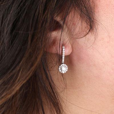 Signature Forevermark Diamond Halo Dangle Earrings 18K
