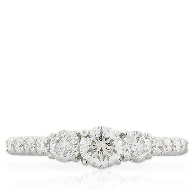 Three Stone Diamond Ring 14K