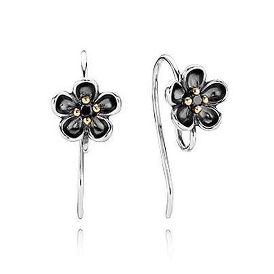 PANDORA Forever Bloom Spinel Earring Posts, Silver & 14K RETIRED