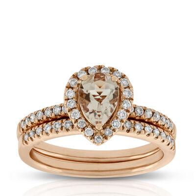 rose gold morganite diamond bridal set 14k - Yellow Diamond Wedding Rings