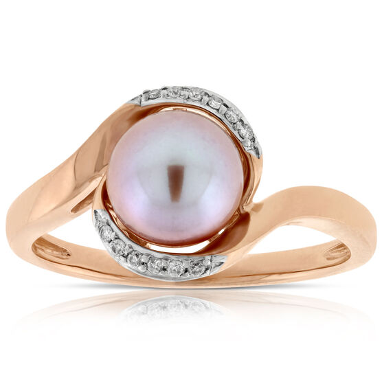 Rose Gold Cultured Pearl & Diamond Ring 14K