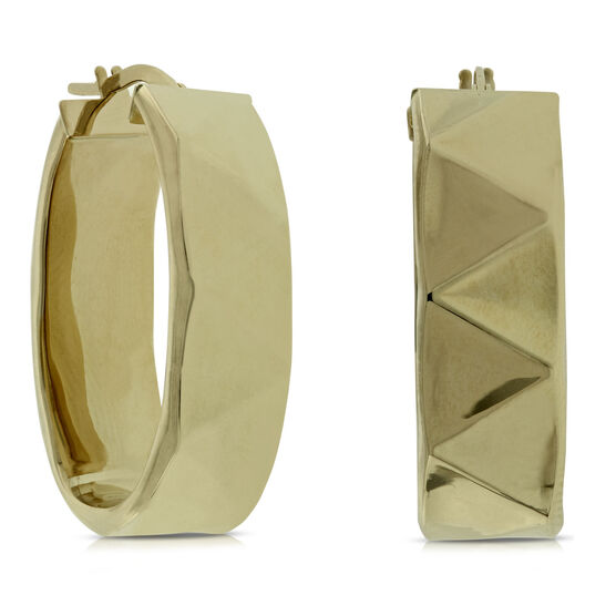 Toscano Collection  Faceted Hoop Earrings 14K