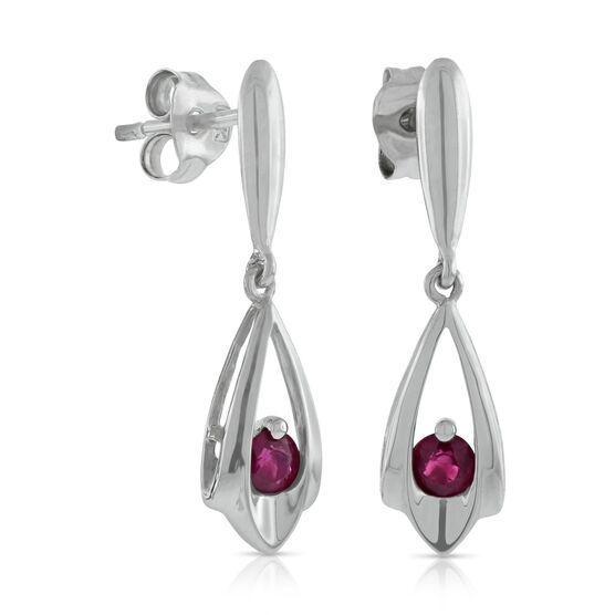 Teardrop Ruby Earrings 14K