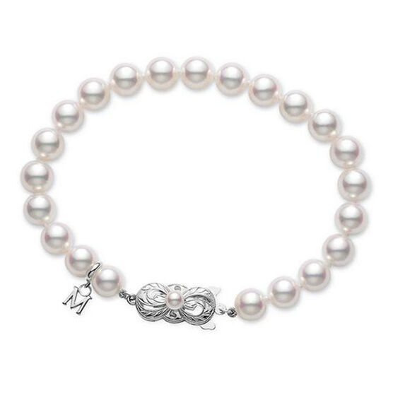 "Mikimoto Akoya Cultured Pearl Bracelet 18K, 7"""