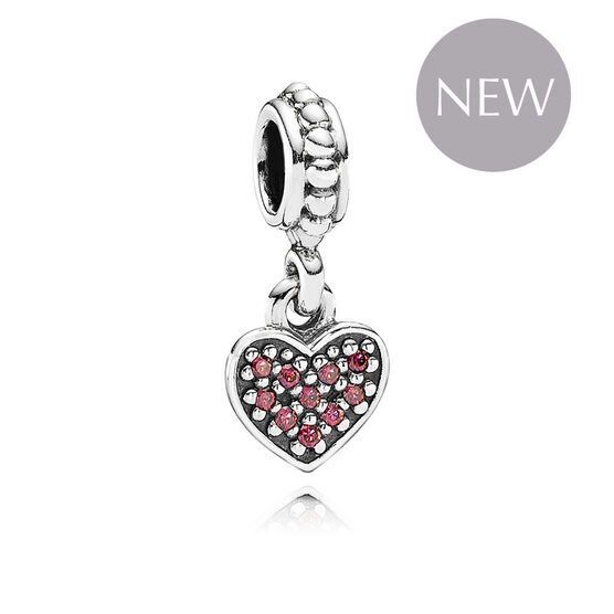 PANDORA Red Pave Heart Dangle Charm