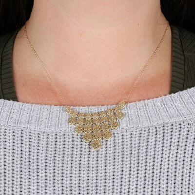 Toscano Golden Bib Necklace 14K