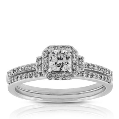 Ikuma Canadian Square Ideal Cut Diamond Bridal Set 14K