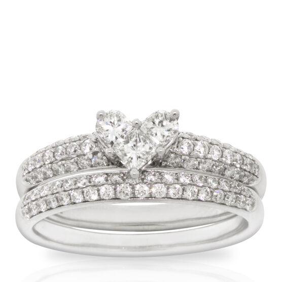 Heart Shaped Diamond Wedding Set 14K